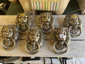 Silvered Lion door knockers,