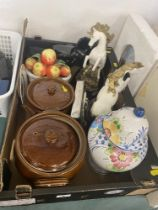 A qty of odds, pair Horses, cutlery, stoneware etc.