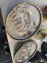 Four porcelain fruit bowls