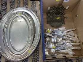 Two silver trays etc.