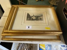 Four framed 1900 copper etching,