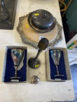A small collection of silver plate inc.