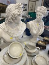 Two Marble style figures Apollo and Diana