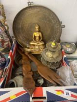 A qty of metal ware and other items
