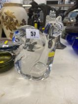 An Orrefors mid-century Olle Alberius large crystal Squirrel,