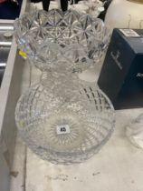 A large cut glass fruit bowl,