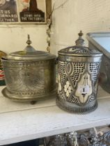 A Silver plated lidded pot plus another