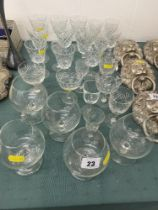 A set of Brandy glasses and a qty of assorted Crystal wine glasses etc.