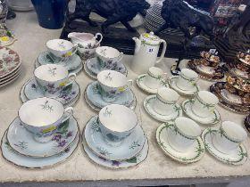 A Colclough part tea set and a Allerton tea set