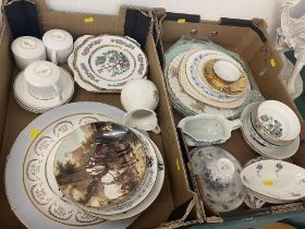 Two boxes of assorted porcelain plates,