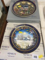 Two vintage collectible Villeroy and Boch Heinrich wall plates, boxed,