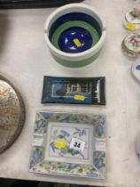 Two decorative ashtrays etc.