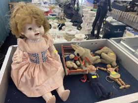 A qty of early dolls, Marionette etc.