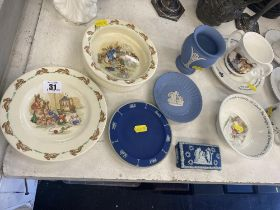 A collection of Bunnykins and Wedgewood etc.
