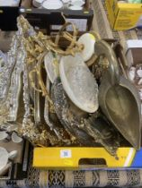 A qty of assorted silver plate, brass ware etc.