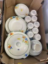 A qty of Torquay hand painted dinner ware and a Lord Nelson pottery coffee cups