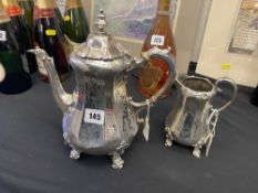 A hallmarked Silver early Victorian coffee pot plus milk jug, approx.