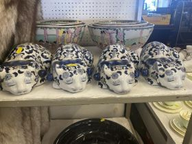 Four blue and white porcelain Cats