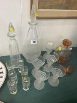 Three early decanter sets that includes an early shot set
