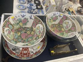 A qty of assorted china, inc Wedgewood plates,