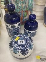 Three signed blue and white pots,