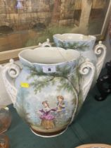 A pair of large Victorian vases, hand painted a.