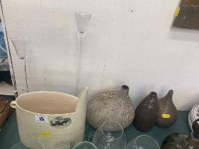 Three glass vases,