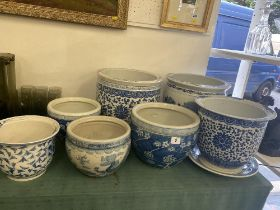 A qty of blue and white Chinese planters, bowls etc.