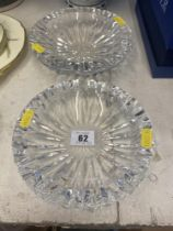 Two cut glass crystal ashtrays