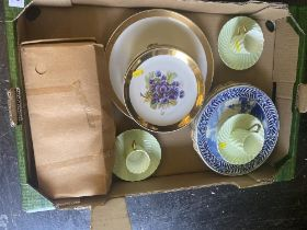 Three Limoges duos, two Delft plates,
