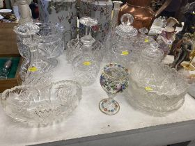 A qty of assorted glass and decanters