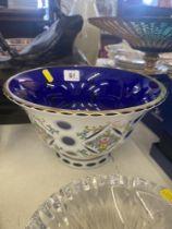 A glass Bohemian overlay bowl