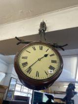 A 19th century Double faced Mahogany station clock