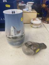 A Royal Copenhagen vase and a bird figure