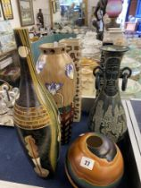 Six decorative pottery vases