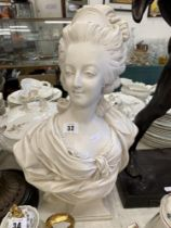A marbled figure Marie Antoinette bust