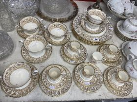 A Wedgewood part coffee/ soup set,white and gilt,