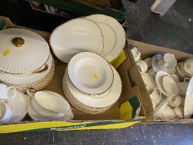 A qty of Gold and white china