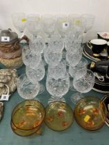 A collection of cut glass/ wine glasses