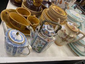 Three teapots, Devonware,