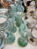 Seven Cathiness heavy bud vases
