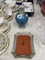 A Royal Copenhagen vase and dish,