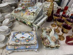 An Italian porcelain grand Piano,