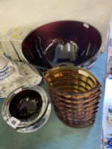 A large purple glass bowl(28cms Dia) and heavy art glass ashtray and a amber vase(slight chip to