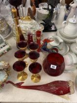 A collection of Murano glassware, some overlay etc.