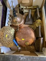 A qty of copper and brass ware inc.