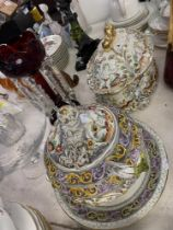 Two large serving dishes, Alcobaca, Portugal,