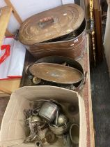 A qty of metalware, copper etc.