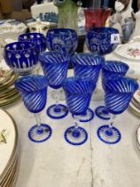 A qty of assorted blue glass and other glass
