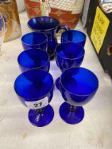 A qty of blue glass